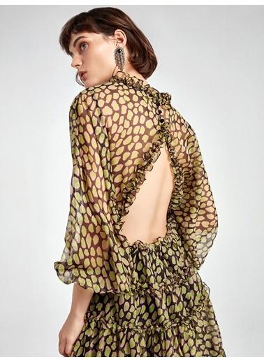 Nocturne Fırfır Şeritli Desenli Mini Elbise Renkli
